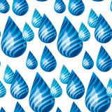 Playful blue rain concept drops seamless pattern. Royalty Free Stock Image
