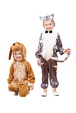 Playful boys dressed as a cat and dog Royalty Free Stock Photography