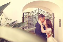 Playful bride and groom near gate Royalty Free Stock Photo