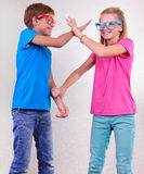 Playful brother and sister having fun Royalty Free Stock Photos