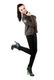 Playful brunette in casual clothing Royalty Free Stock Images