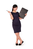 Playful businesswoman pose full length isolated Royalty Free Stock Image