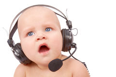 Playful call-center representative Royalty Free Stock Images