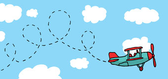 Playful cartoon airplane flying Royalty Free Stock Photo