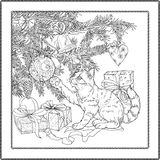 Playful cat. Black and white illustration of christmas tree, presents and playful cat. Coloring page royalty free illustration