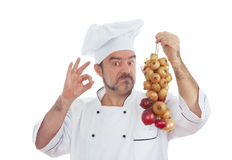 Playful Chef with bunch of onions Stock Photos