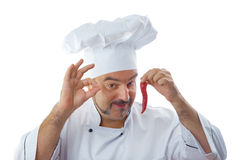 Playful Chef with chili Stock Photos