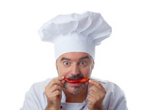 Playful Chef with chili Stock Image