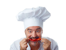 Playful Chef with chili Stock Images