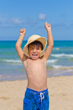 Playful child in the beach royalty free stock photography