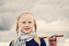 Playful Child Girl Outdoors Royalty Free Stock Photo