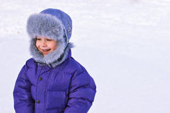 Playful child in winter Royalty Free Stock Image