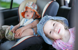 Playful children in the car Royalty Free Stock Photography
