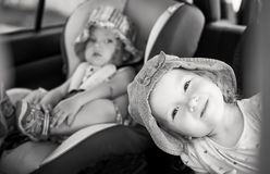 Playful children in the car Royalty Free Stock Photos