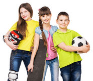 Playful children holding sport equipment in hands Stock Photography