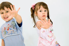 Playful children over white background Stock Photography