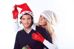 Playful Christmas couple Stock Image