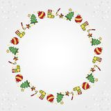 Playful Christmas designs with trees and socks in the shape of a royalty free stock image