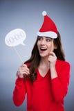 Playful christmas woman Stock Photos