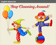 Playful clowns. A poster showing two playful clowns Stock Image