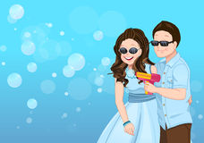 Playful couple cartoon vector with soap bubble guns Stock Image