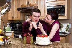 Playful Couple in the Kitchen - Horizontal Stock Photography