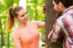Playful couple in park. Royalty Free Stock Photos