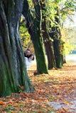Playful couple peering around an autumn tree Royalty Free Stock Photo