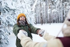 Playful Couple in Winter stock images