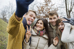 Playful couples gesturing while taking self portrait in park Royalty Free Stock Image