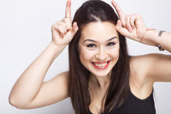 Playful cute woman having fun Royalty Free Stock Images