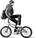 Playful cyclist Royalty Free Stock Photo