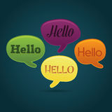 Playful dialog bubbles. With hello text, communication and diversity concept royalty free illustration