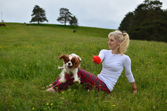 Playful Dog and Woman in the Countryside Royalty Free Stock Photos