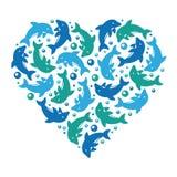 Playful dolphin school in heart shape vector illustration royalty free illustration
