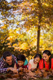 Playful family lying at park during autumn. Playful family lying on field at park during autumn Royalty Free Stock Images