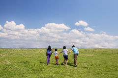 Playful family on meadow Royalty Free Stock Photography