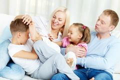 Playful family. Portrait of happy family playing and laughing Stock Photo