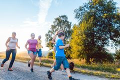 Playful family running and playing on a path in summer landscape stock photography