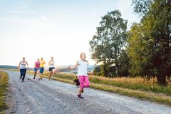 Playful family running and playing on a path in summer landscape royalty free stock images