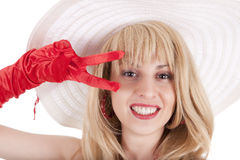 Playful fashion girl in retro style with big hat Royalty Free Stock Photos
