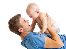 Playful father and baby son having fun Royalty Free Stock Photography