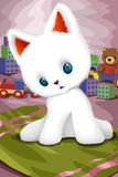 Playful white kitten character cartoon style  illustration Royalty Free Stock Images