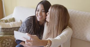 Playful friends posing for a selfie on a mobile stock footage