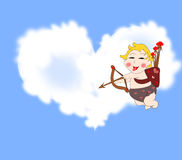 Playful funny cupid with arrows in the sky with clouds Stock Image