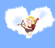 Playful funny cupid with arrows in the sky with clouds Royalty Free Stock Images