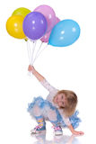 Playful girl with baloons royalty free stock image