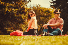 Playful girl with her man. Love romance relationship dating leisure concept. Playful girl with her man. Young lady with boyfriend in park Royalty Free Stock Photo