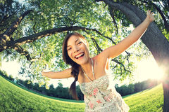 Playful girl in park Stock Image