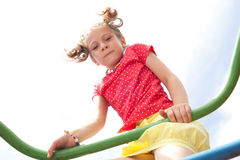 Playful girl playing on the playground Stock Photography